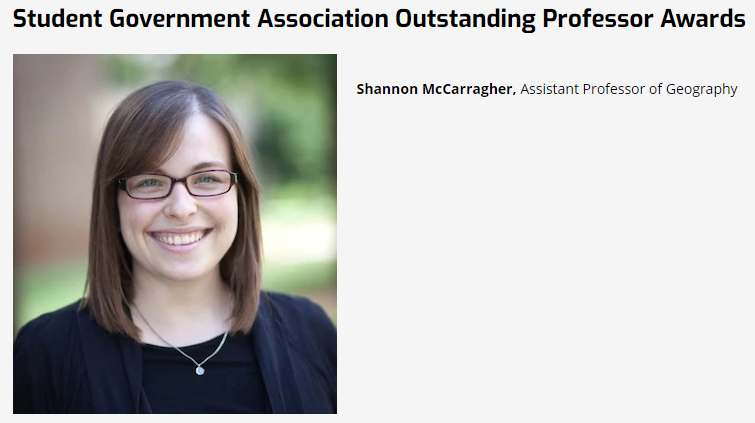 Selected for the Campus-Wide UTC Outstanding Professor Award, Among Transition